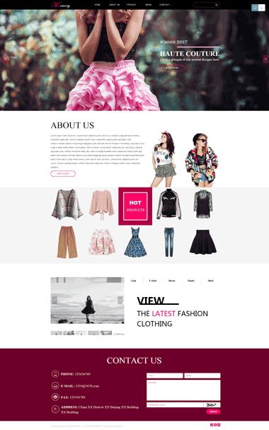 时尚女装网站模板-中英文网站设计-服装网站SEO优化