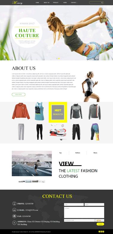 外贸服装网站模板-制作运动女装网站-优化外贸服装排名