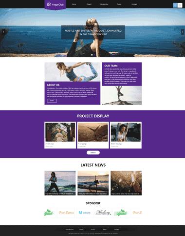 瑜伽俱乐部响应式网站模板-瑜伽俱乐部模板网站图片素材(英文)
